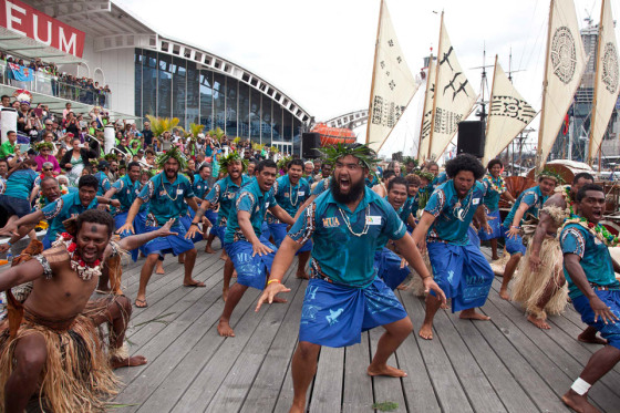 Welcoming ceremony at the Australian National Maritime Museum for Vakas arriving for Oceania Day celebrations 2014.