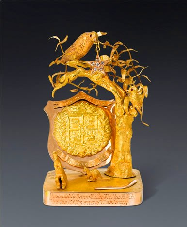 The gold paperweight that belonged to Dame Nellie Melba