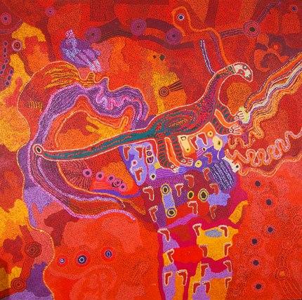 Tjala Arts Collaborative, Perentie Man Story, 2012. Source: SAM, Courtesy Ananguku Arts Community Collection. Photo: Iain Morton.