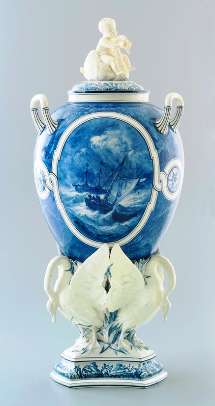 'The swan vase', earthenware, painted by John Holloway, modelling attributed to Carrier-de-Belluse, Wedgwood and Sons, Etruria, Staffordshire, England, 1875. Purchased by the Powerhouse Museum in 2012 with the assistance of the Natural Cultural Heritage Account.